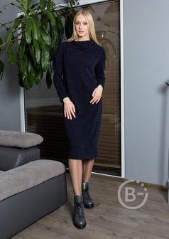 Темно-синие платье с длинным рукавом Top Design B9 022