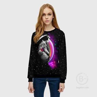 Женский свитшот 3D Космический кот