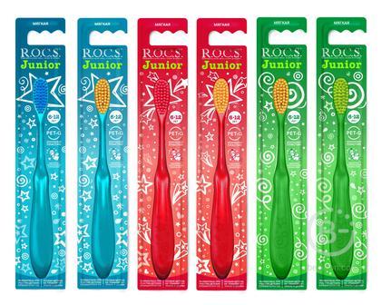R.O.C.S. Junior зубная щетка для детей от 6 до 12 лет мягкая, безопасный пластик 03-04-040
