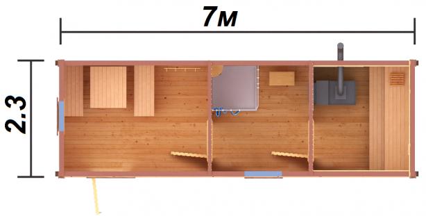 Готовая баня 7х23 улучшенная комплектация Каркас 100мм