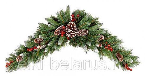 Декоративное украшение СВАГ ПОЛУМЕСЯЦ заснеженный с ягодами и шишками, 90 см