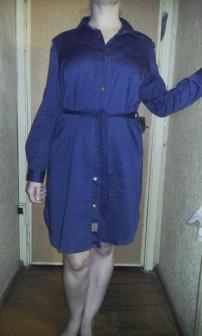 Платье рубашка джинсовая размер L На заклёпках!
