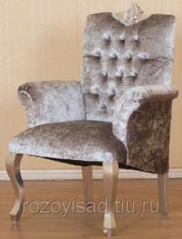 Кресло из дерева 0280 (велюр серебро)(ТГ)