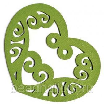 Подвески Деревянные Окрашенные, Сердце, Цвет Зеленый, Размер 52х42х2мм, Отв тие 2мм, (УТ000003780)