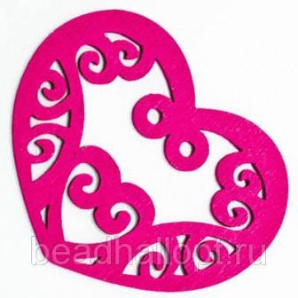 Подвески Деревянные Окрашенные, Сердце, Цвет Фиолетовый, Размер 52х42х2мм, Отв тие 2мм