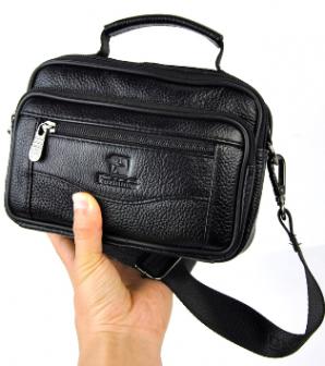 Маленькая мужская кожаная сумка через плечо и с ручкой XM5448 BLACK с возможностью носить на поясе