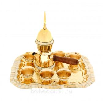 Набор посуды с перламутровыми вставками Турецкая ночь поднос, 6 чашек, ко
