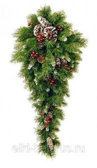 Настенный декор КАПЛЯ ЗАСНЕЖЕННАЯ с ягодами и шишками, 50 LED ламп, 91 см