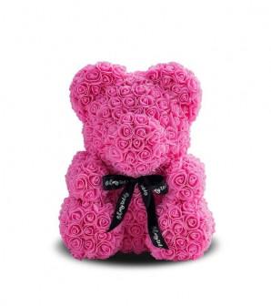 Мишка из розовых 3D роз