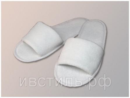 Тапочки для гостиниц белые с открытым носом, махра