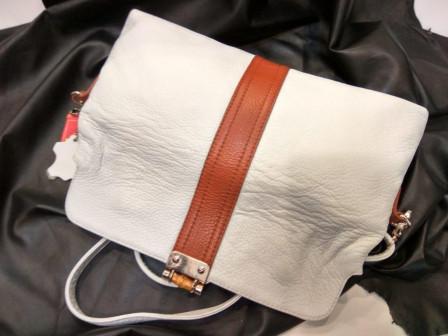 Женская кожаная сумка клатч, white