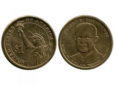 Монета 1 доллар США 2014 г, 34 й президент Dwight David Eisenhower ( из обращения)