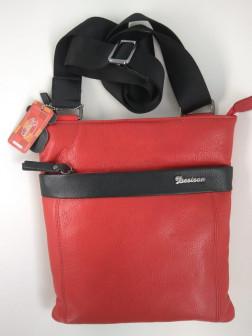 Женская кожаная сумка через плечо, red