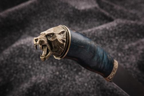 Нож Медведь ( булат,стабилизированная карельская береза-мельхиор)