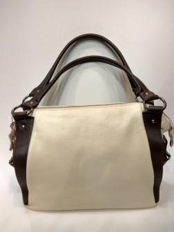 Женская кожаная сумка, крем