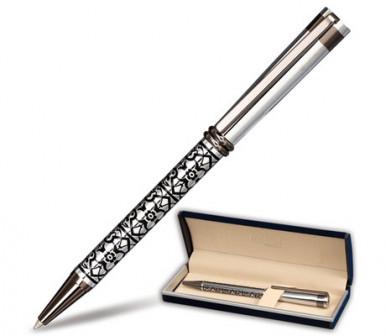 Ручка шариковая GALANT Locarno, подарочн, корп серебристчерн, хромир детали, 141667,син