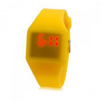Ультратонкие силиконовые LED часы Nexer G1206 желтые
