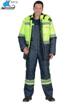 Костюм ТЕРМИНАЛ зимний: куртка, п/комб. лимонный с синим тк. Оксфорд