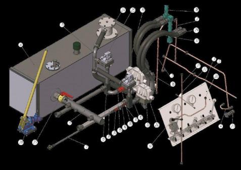 Угольник в сборе 2 45 310 (Обвязка гидросистемы 2 45А 00 )