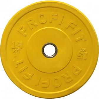 Диск для штанги каучуковый, цветной (жёлтый), бамперный Диаметр втулки 51 мм Вес 15 кг дискдляштанг
