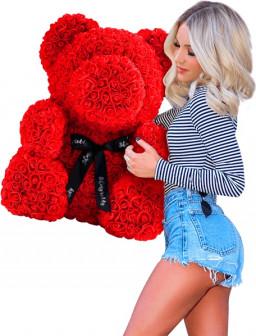Мишка из роз 40 см с бантом или с сердцем в подарочной упаковке