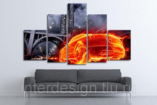 Модульная картина на холсте Огненный автомобиль