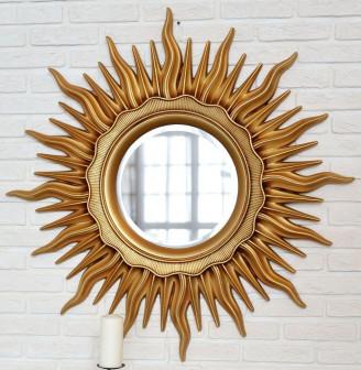 Зеркало в раме в виде Солнца Арт Деко Золото Патина