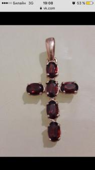 Крест золотой камни гранат 585 проба Вес 3,96 гр Стоимость 7100