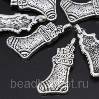 Кулон Носок, Металл, Цвет Античное Серебро, Размер 22х11х2мм, Отверстие 15мм, (БА000001400)