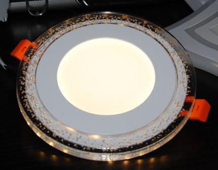Трёхрежимный круглый встраиваемый LED светильник CL 6+3 W, d 135, 4000K+3000K , желтые пузырьки