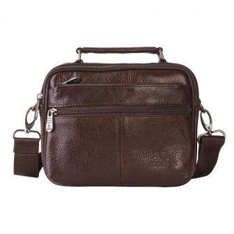 Небольшая горизонтальная мужская сумка через плечо и с ручкой 1308 из натуральной кожи