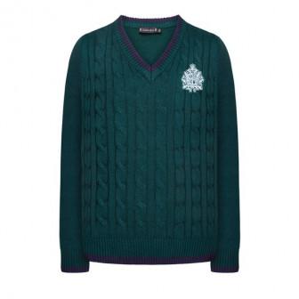 Вязаный джемпер для девочки, цвет темно-зеленый