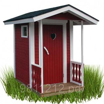 Туалетная кабина из дерева Скворечник LUX, Размер 2,2х1,4м С крыльцом Под финский биотуалет