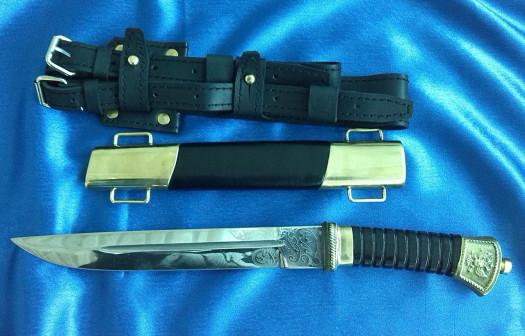 Нож Казачий Пластунский с резьбой