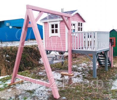 Детская игровая площадка Бетти Домик на ножках опорах + Качель деревянная