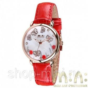 Женские наручные часы Mini Watch MN2051red Бабочки в стразах на белом фоне