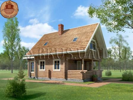 Дом из оцилиндрованного бревна 87 кв.м. 10,5х7 м