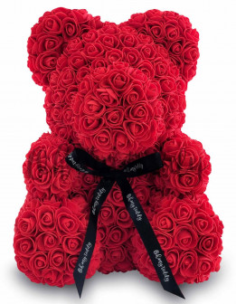 Мишка из роз, 40 см Красный, 25 см