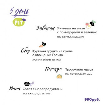 Фитнес меню одного дня. ! день 990 р