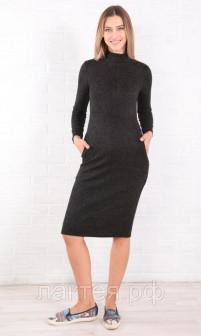 Платье для беременных и кормящих черный Euromama ем 7013