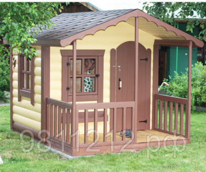 Детский домик для дачи 2,5х2,5 м, деревянный, материал   имитация бревна