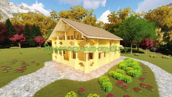 Дом Макеевка бревенчатый 9,5*12,640 м 180 м.кв. с террасой, балконом