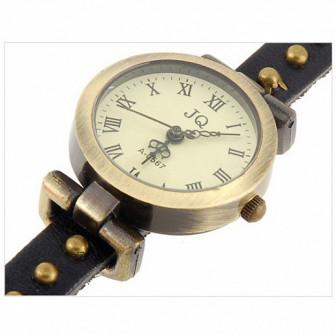 Часы браслет эко кожа   3 петли   Rivet, черные