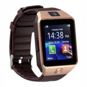 Умные часы DZ09   Smart Watch DZ 09   золото, коричневый ремешок