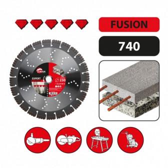 Сегментный алмазный диск по высокоармированному бетону Leman Expert 115 мм, 2223 мм