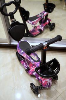 Самокат детский Scooter 5 в 1 с подсветкой и музыкой принт розовый