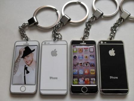 металлический брелок Айфон с любым изображением