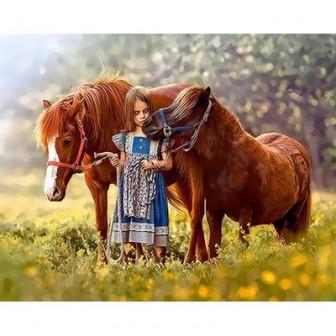 Девочка и лошади. размер 40*50