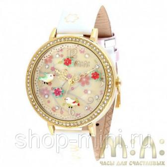 Корейские наручные часы Mini Watch MN1065 птички с цветами с белым ремешком