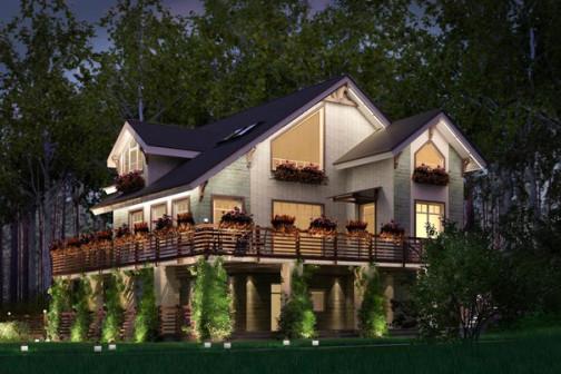 Подсветка фасадов загородного дома